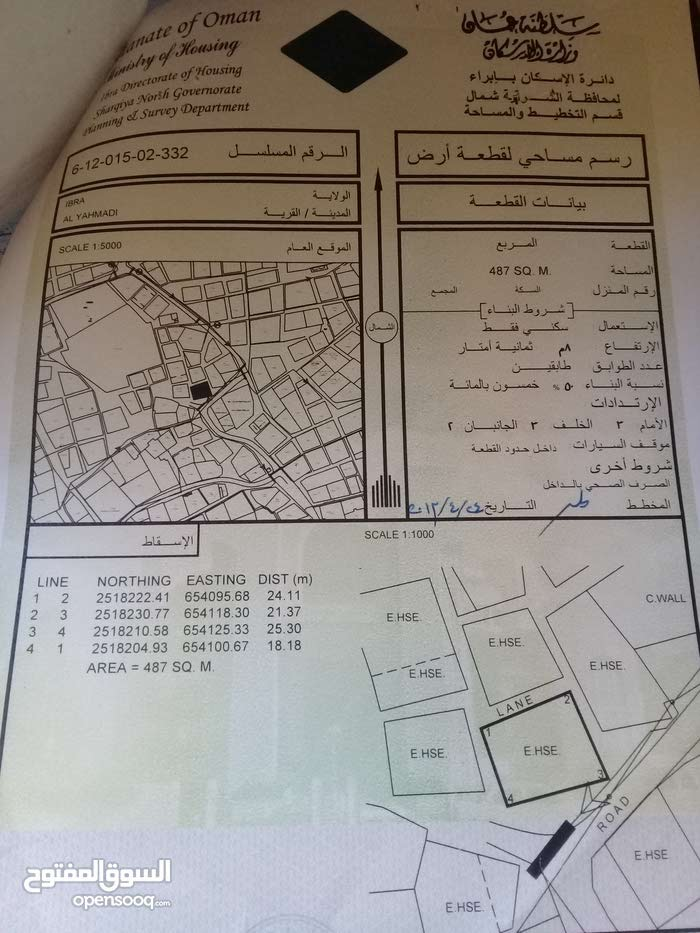 Yahmadhi neighborhood Ibra city - 500 sqm house for sale