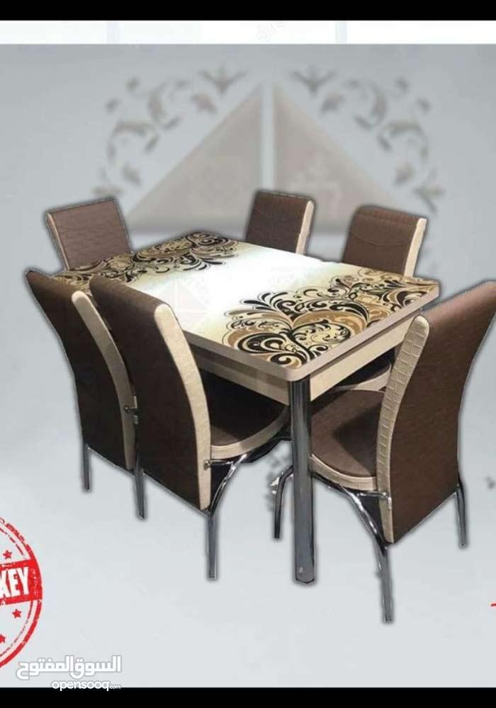 طاولة سفرة تركي قابلة للتكبير لون بني وابيض