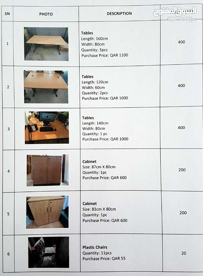 Office furniture used prices negotiable