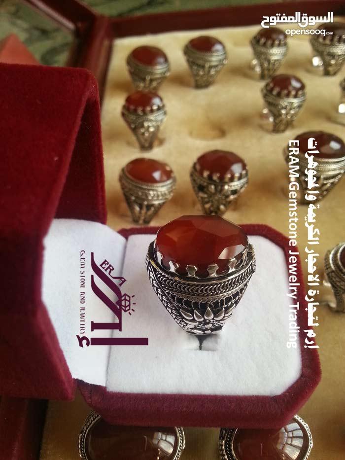 خواتم رجالي كلاسيك (3)عقيق يمني احمر كبدي دم الغزال مركن  درجة اولى Onyx Agate