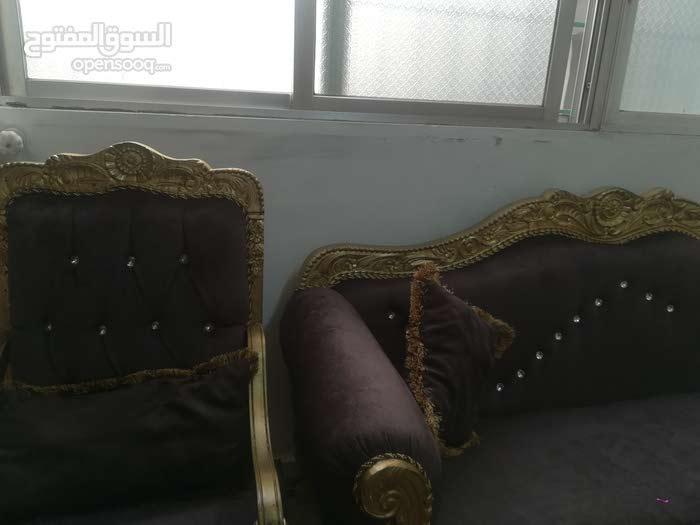 طقم كنب للبيع سبع مقاعد خشب زان وقم اش تركي +طاوله رخام