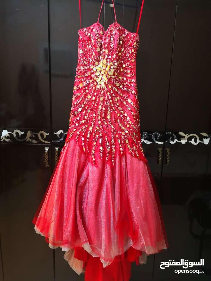 فستان احمر  حوريه البحر تفصيل سورى