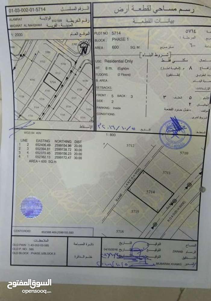 فرصة للبيع ارض في مدينة النهضة مربع 5/3
