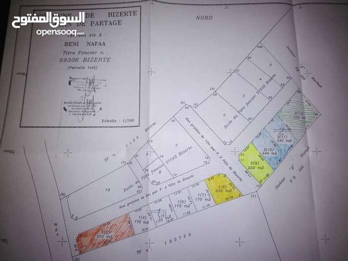 قطعة ارض ببنزرت مساحتها 250 م بمنطقة بني نافع