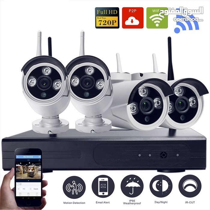 نظام 4 كاميرات مراقبة لاسلكي شامل التركيب