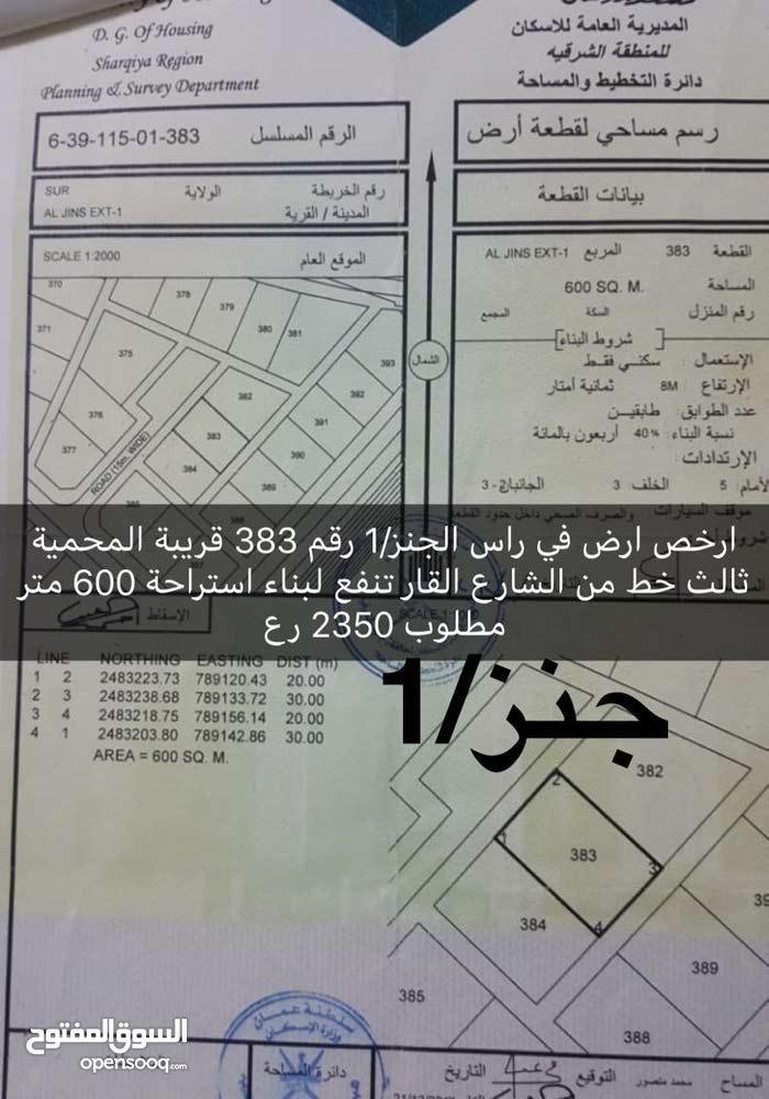 ارخص ارض في راس الجنز/1 رقم 383 قريبة المحمية