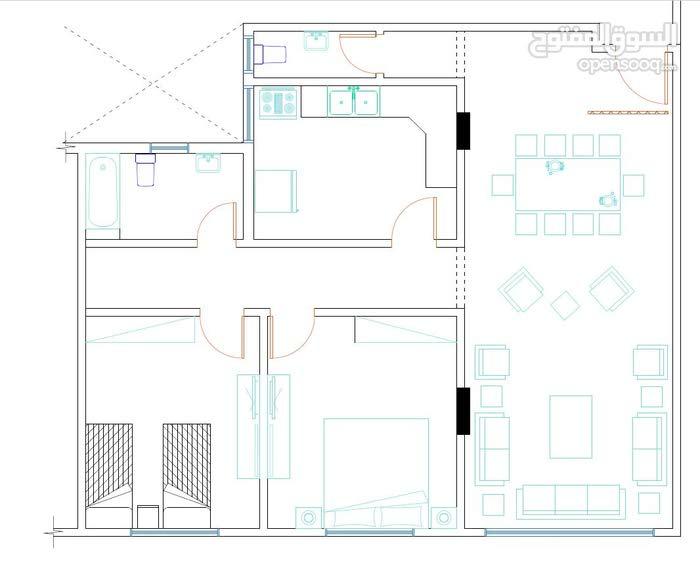 شقة سكنية للبيع مشطبة سوبر ديلوكس