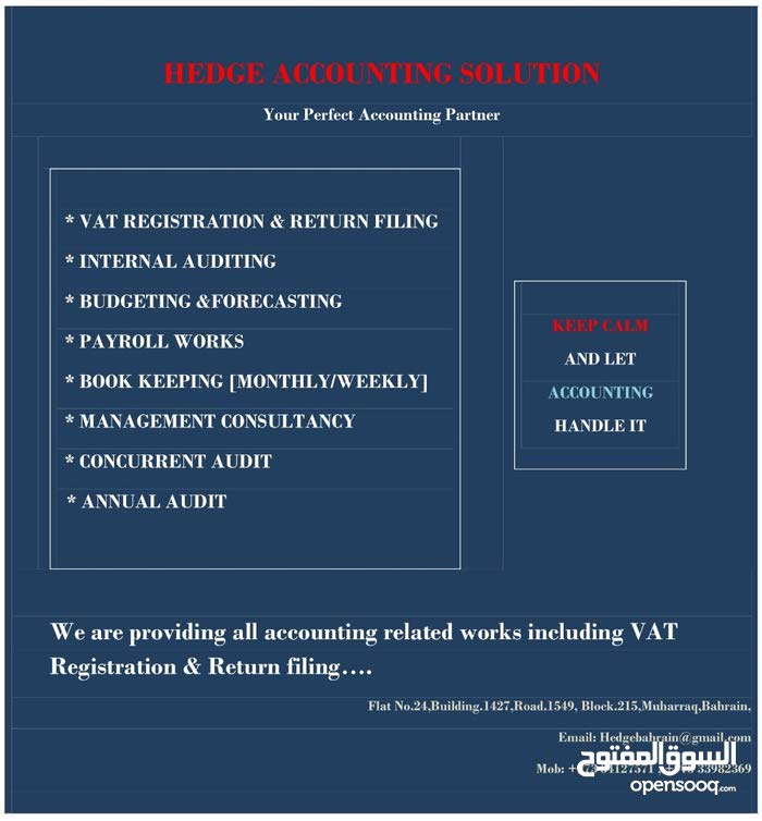 We are Providing all Accounting related works including VAT Registration & Return filing