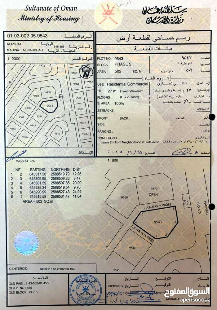 سكني تجاري للبيع ارض في مدينة النهضة مربع 13
