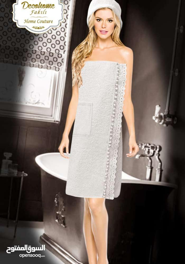 طقم منشفة استحمام من قطن
