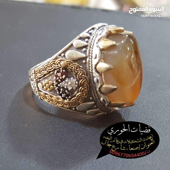 خواتم عقيق يمني شغل تركي مطعم بنحاس