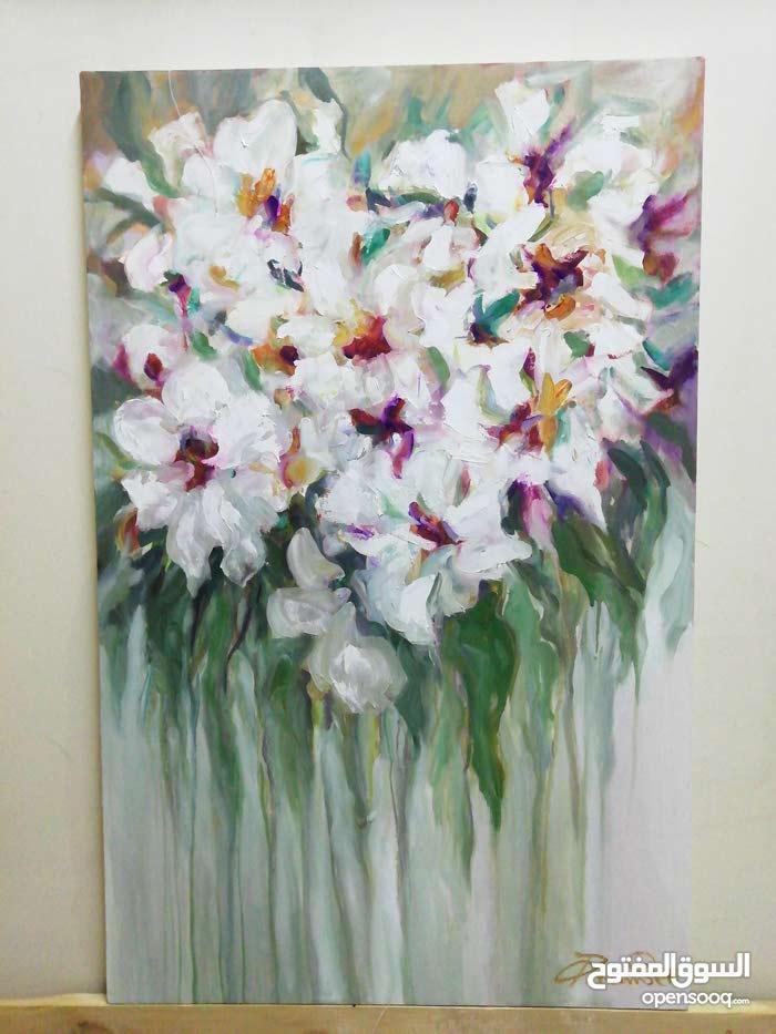 لوحة زهور زيتي على كانفاس قياس 110*70