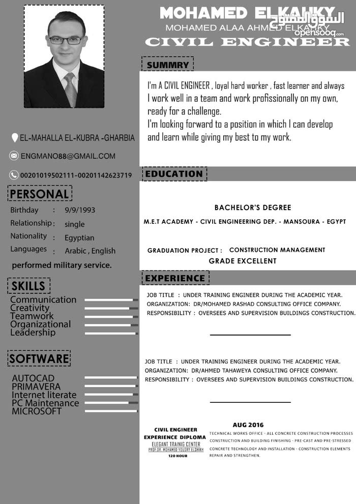 مهندس مدني دفعة 2017 انهي الخدمة العسكرية يبحث عن وظيفة مناسبه
