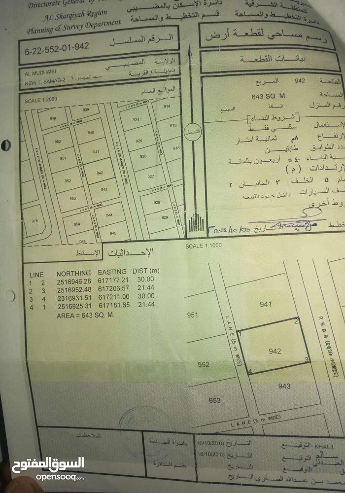للبيع أرض سكنيه مساحه(643)M موقع ممتاز للاستثمار