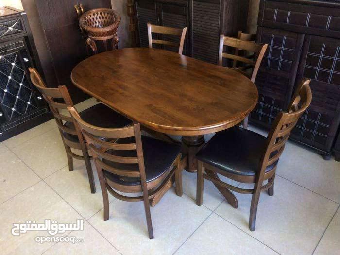 طاولة مطبخ ماليزي خشب صلد مع 6 كراسي
