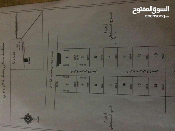 قطعه ارض للبيع 500م بين الهواري والقوارشه قريبه من طريق الوادي