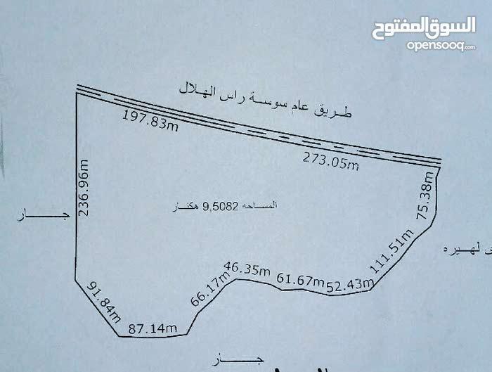 أرض في مدينة سوسة تسعة ونصف هكتار للبيع