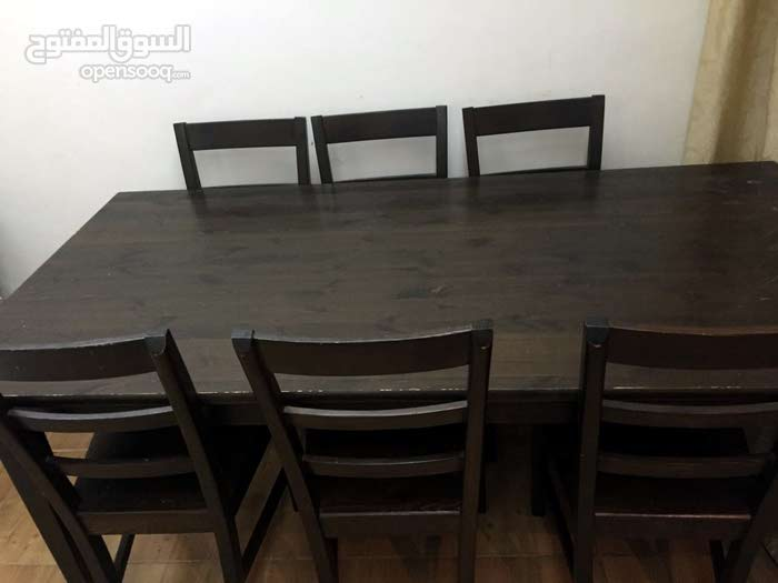 Wooden dining table with 6 chairs ikea 63182099 opensooq - Ikea wooden dining table chairs ...