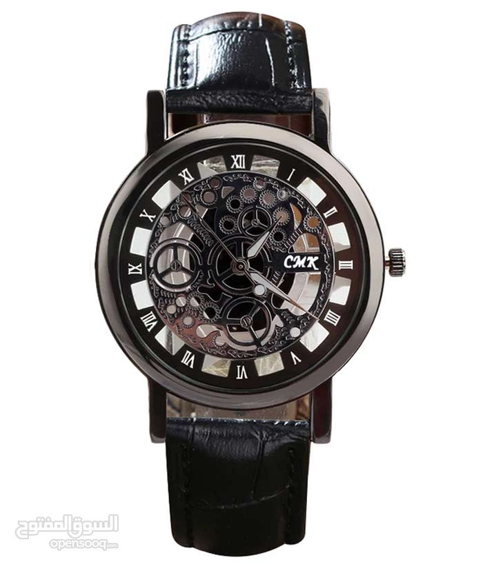 skeleton watch with leather strap