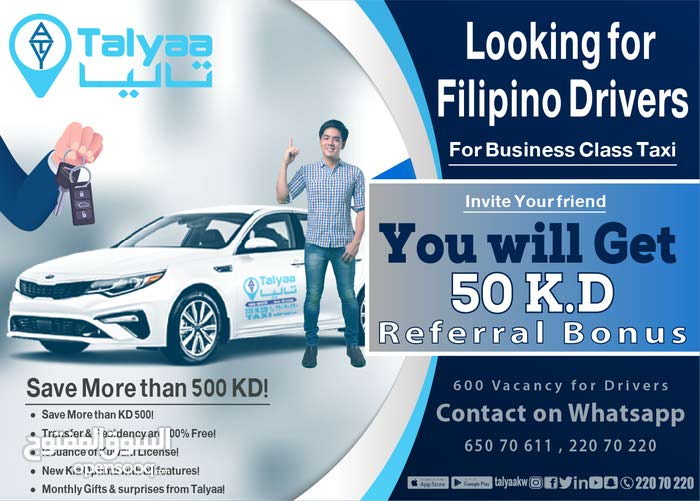 Drivers Filipinos and Indians for Business Class Taxi