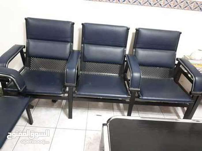 طقم كنب  Sofa Set (5 Seater - 3+2) with Metal Frame and Blue Leather