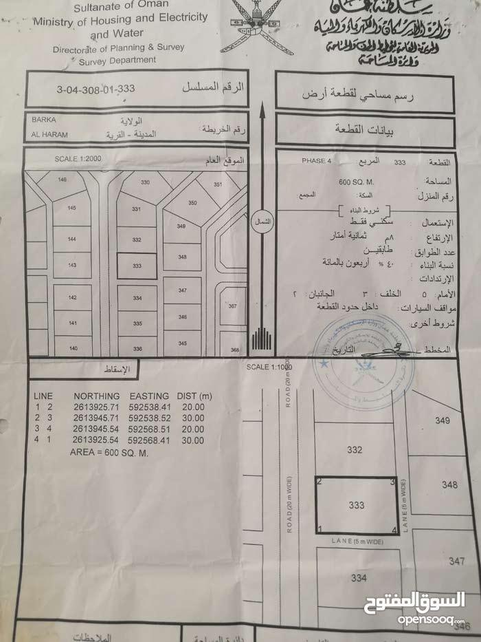 اراضي في ولايه بركاء منطقه الهرم الرابعه الخط الاول وكل الخدمات وسعر ممتاز جدا