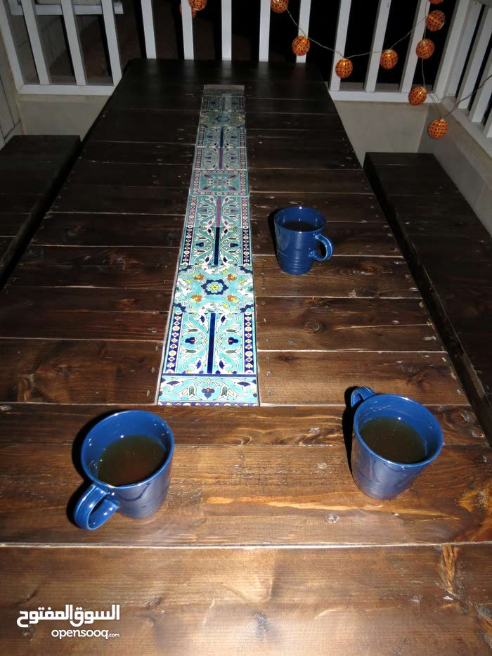 Wonderful dining table - handmade tiles - upcycled pallet wood