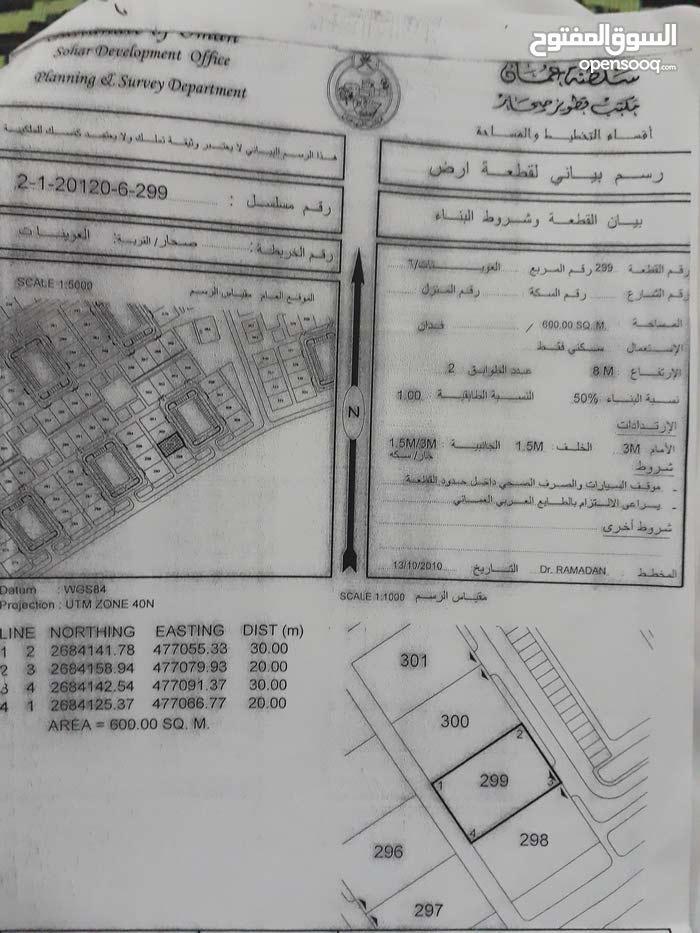 ارض للبيع صحار منطقة العوينات المساحه 600