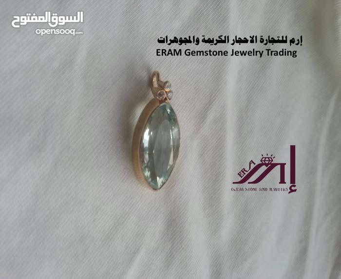 قلادة ذهب زمرد ريحاني اوكمارين والماس طبيعي 100% aquamarine + diamond