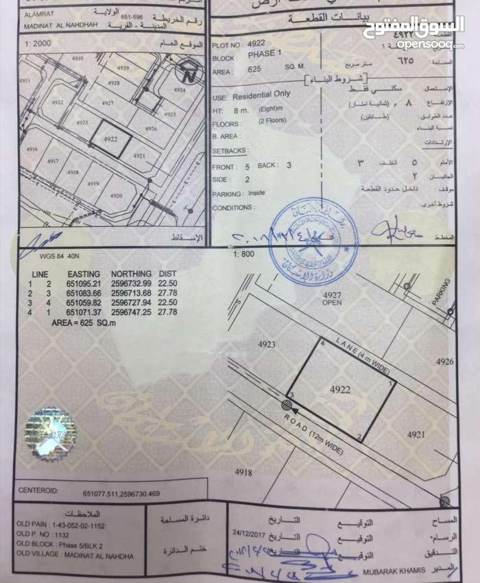 ارض سكنيه بالنهضه 5/2 فرصه لا تتعوض جنبها بيوت وموقع خراقي