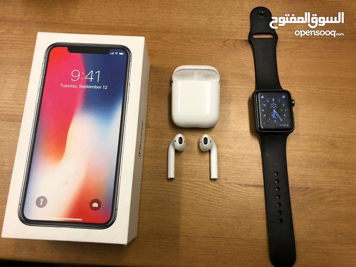 ايفون x بشيك + سماعات apple airpods + ساعة apple watch 3 nike