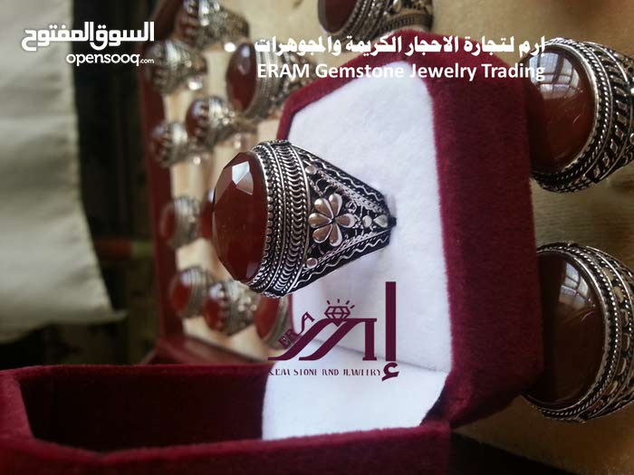 خواتم رجالي كلاسيك (2)عقيق يمني احمر كبدي دم الغزال   درجة اولى Onyx Agate