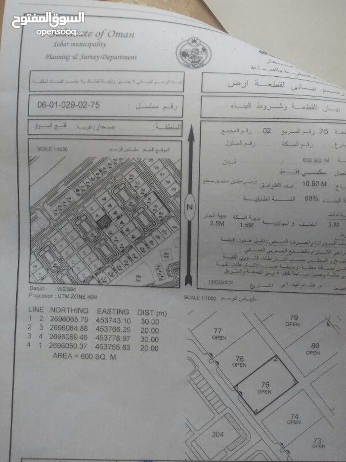 للبيع ارض سكنيه في صحار فلج السوق مربع 2